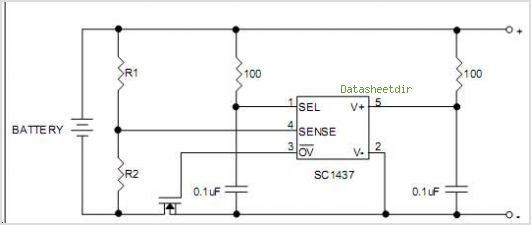 SC1437 Precision Voltage Detector With Programmable Trigger Voltage & Timer Delay - Semtech Corporation - schematic