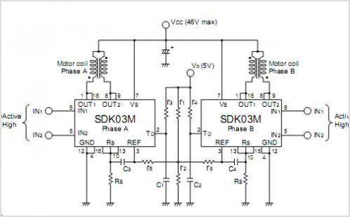 SDK03M 2-Phase Stepper Motor Unipolar Driver ICs - schematic