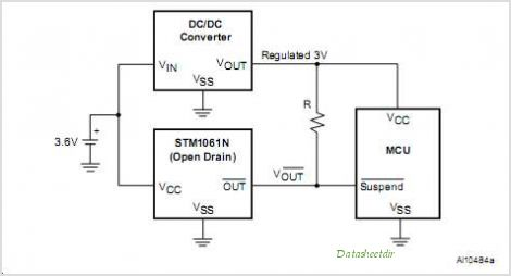 STM1061 Low Power Voltage Detector - schematic