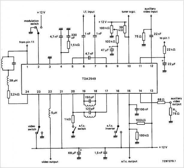 TDA2549 TDA2549 I.F. Amplifier And Demodulator For Multistandard TV Receivers - schematic