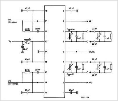 TDA2555 Dual Tv Sound Demodulator Circuits - Nxp Semiconductors - schematic