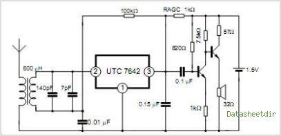 UTC7642 1-Chip AM Radio Circuit - schematic