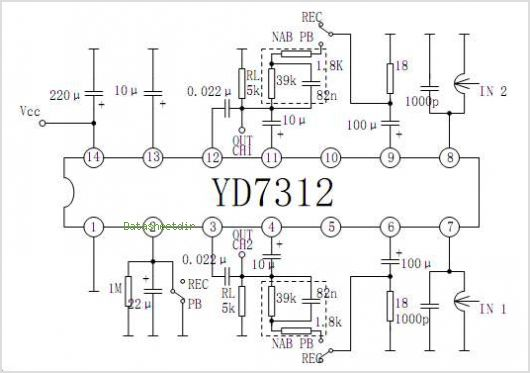 YD7312 DUAL RECORDING/PLAYBACK PREAMPLIFIER CIRCUIT WITH ALC - schematic