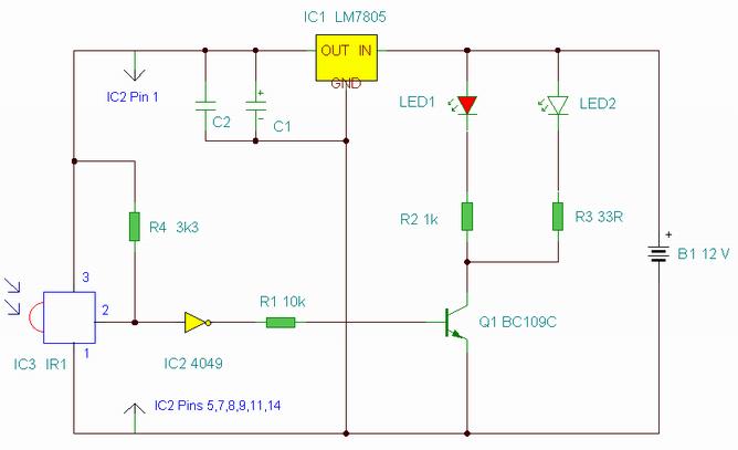 IR Remote Control Extender Circuit - schematic