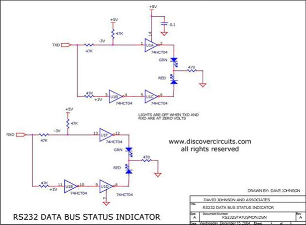 RS-232 Serial Interface Status Indicator Circuit