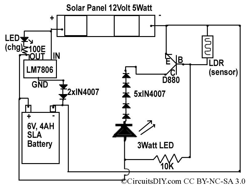 Solar to 6V Batt to LED emergency light circuit - schematic