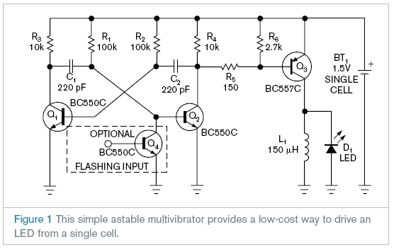 Astable multivibrator lights LED from a single cell - schematic