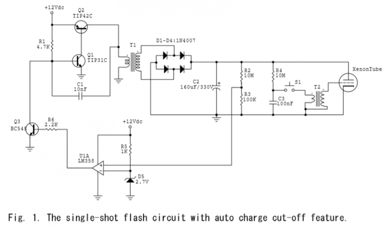 Single-Shot Auto-Charge Flash Circuit - schematic