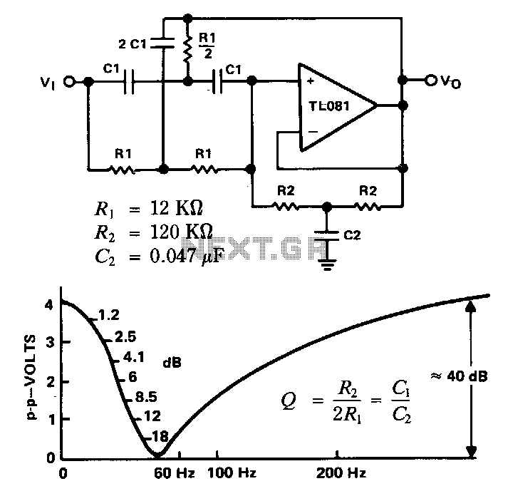 Twin-t-notch-filter - schematic