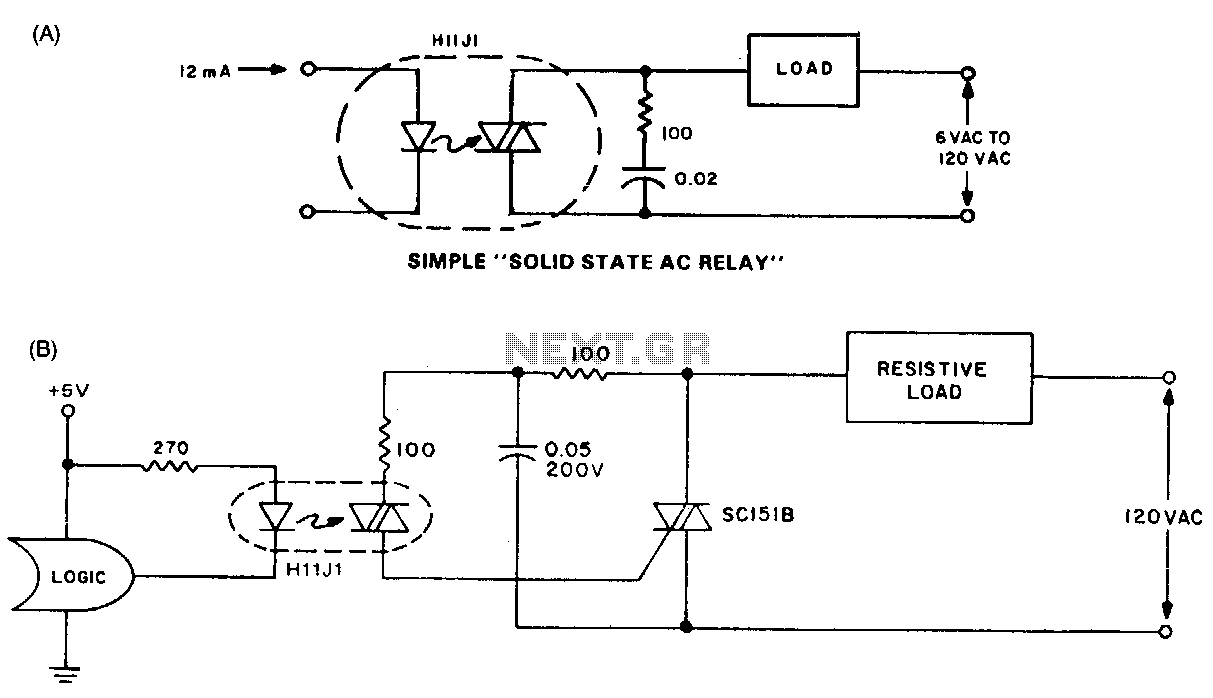 Solid State Relay Circuit Using Triac Basic Triacscr Projects Circuits Tutorial Automations Ac L13535 Nextgr
