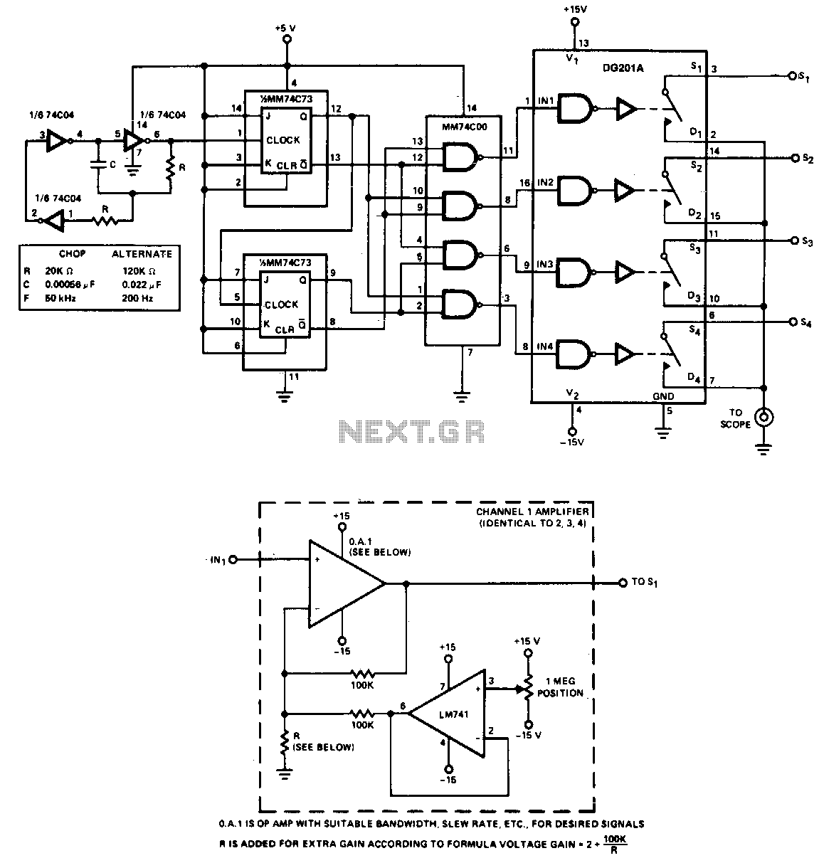 Popular Circuits Page 152 Bc548 Heat Sensor Circuit The Adapter Allows Four Inputs To Be Displayed Simultaoeously On A Single Trace Scope For Low Frequency Signals Less Than 500hz Is Used In