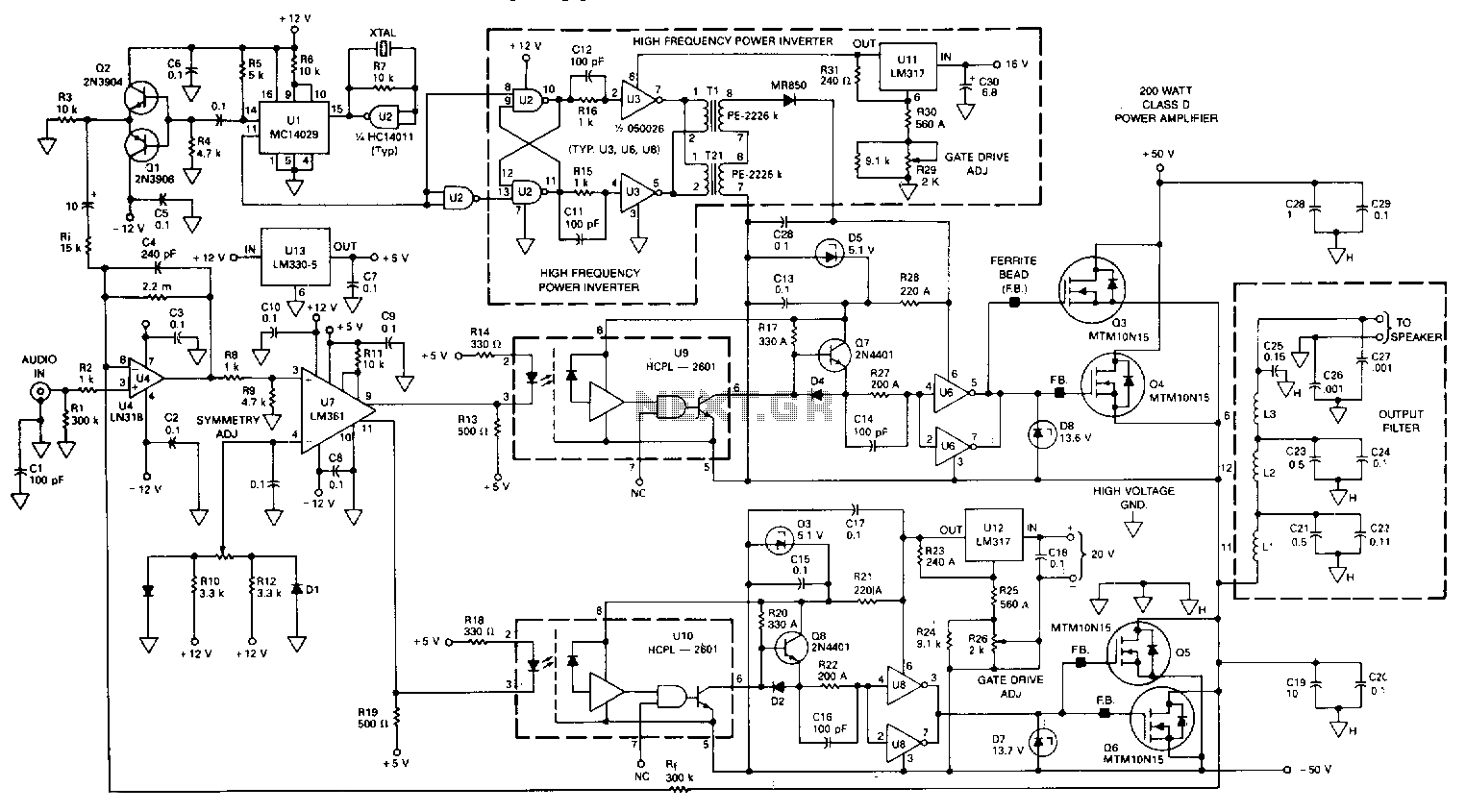 WRG-9423] Class D Amplifier Circuit Diagram
