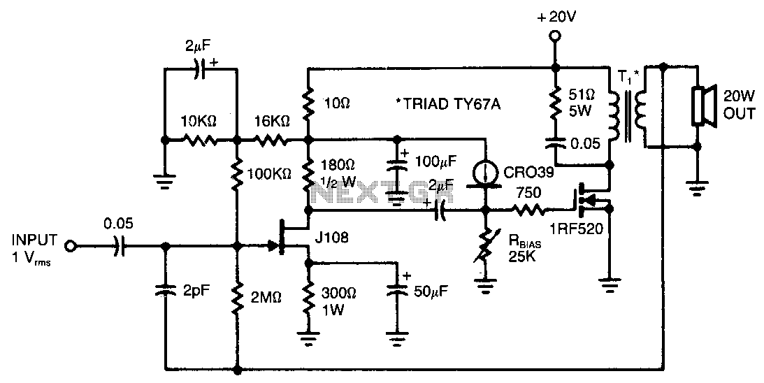 20W-audio-amplifier - schematic