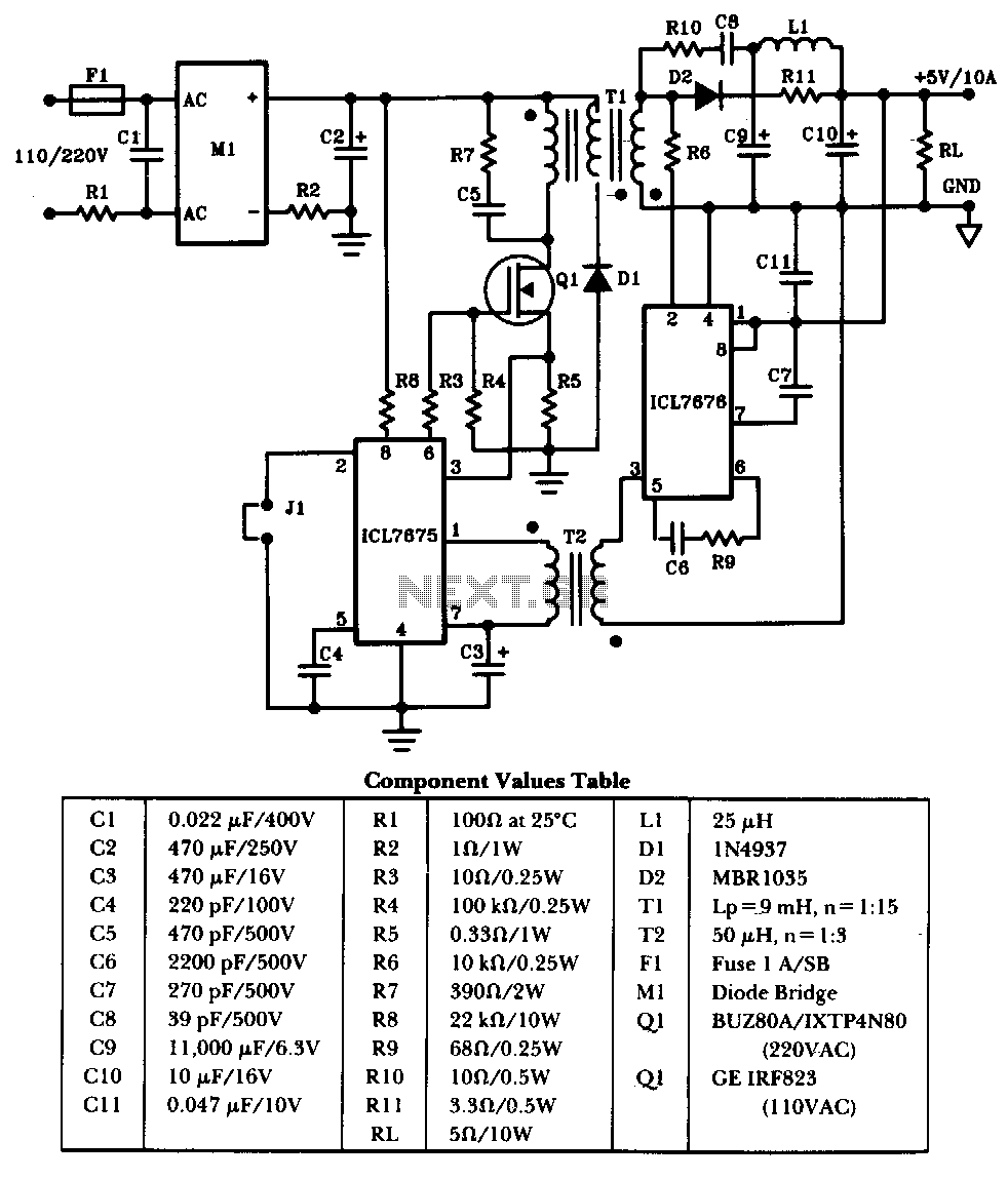 Switching Power Supply Circuits Ac Led Circuit Diagram 50w Offline The Schematic
