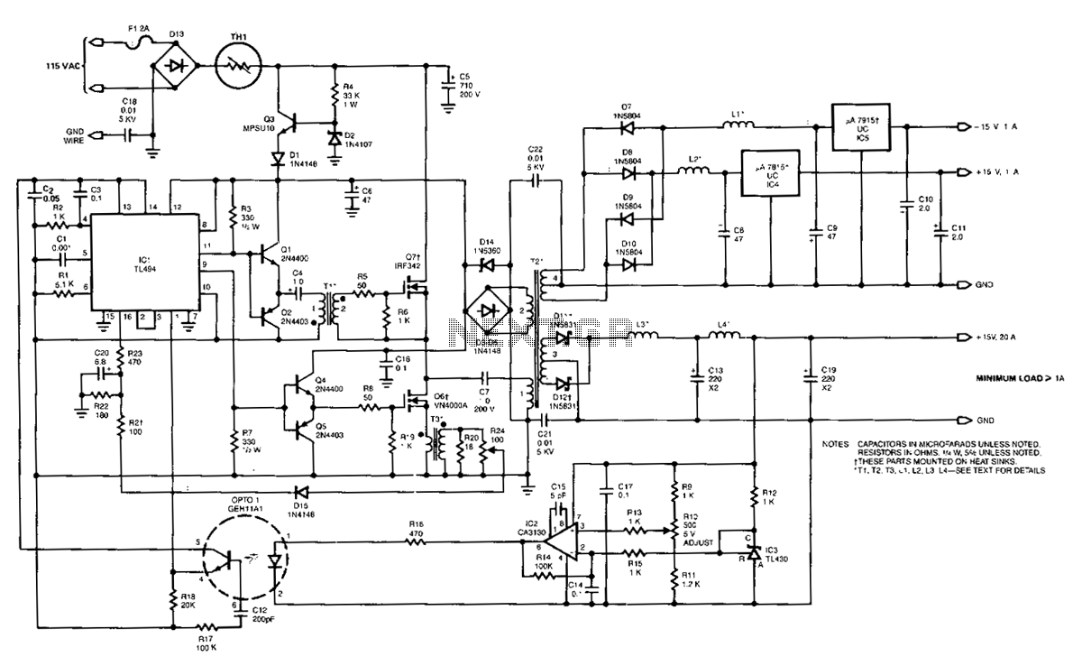 100Khz-multiple-output-switching-power-supply - schematic