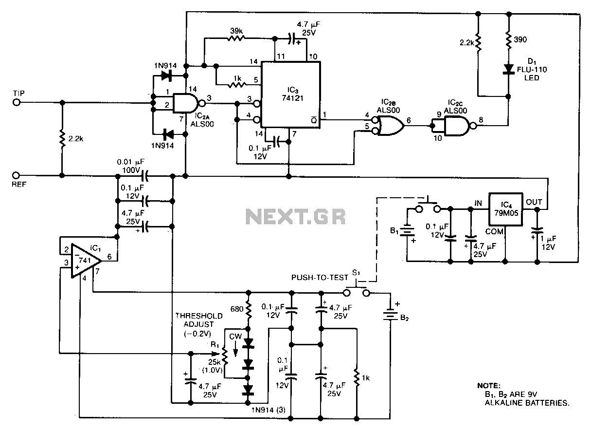 Battery-powered-ground-noise-probe - schematic