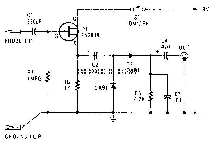 rf-probe under rf-radiation detector circuits