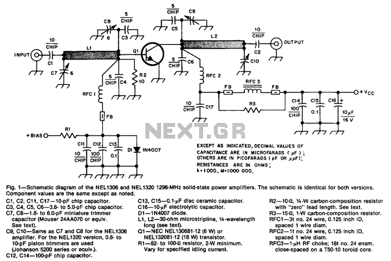 1296Mhz-solid-state-power-amplifier - schematic