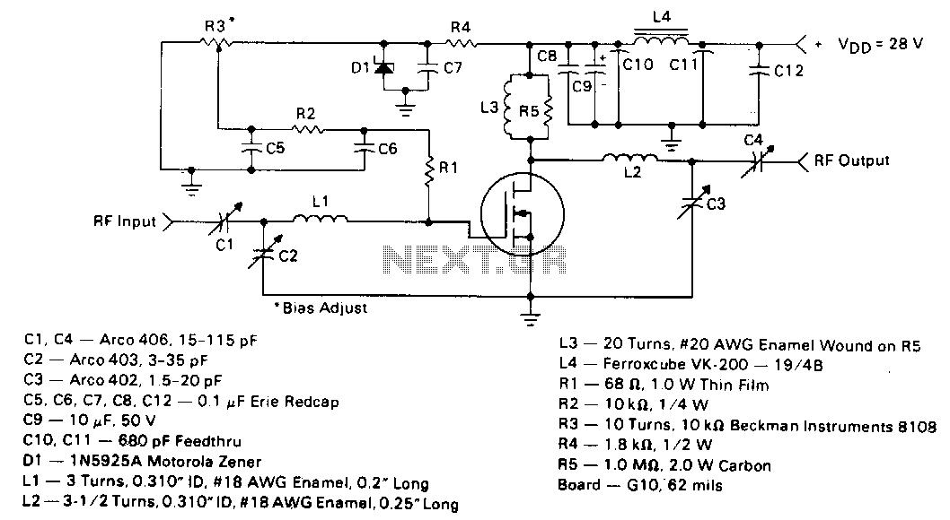 5W-150mhz-amplifier - schematic