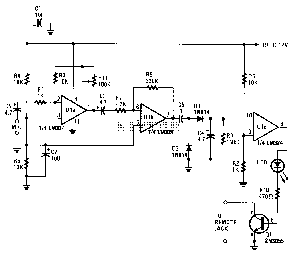 Electronic Circuit Page 7 Comparator Circuits Examples Tutorial Sound Activated Tape Switch