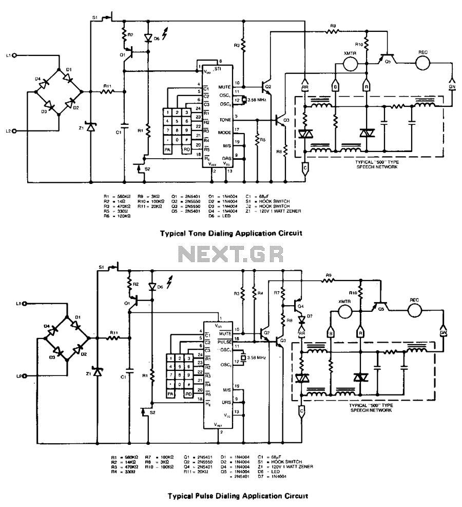 Single-chip-pulse-tone-dialer