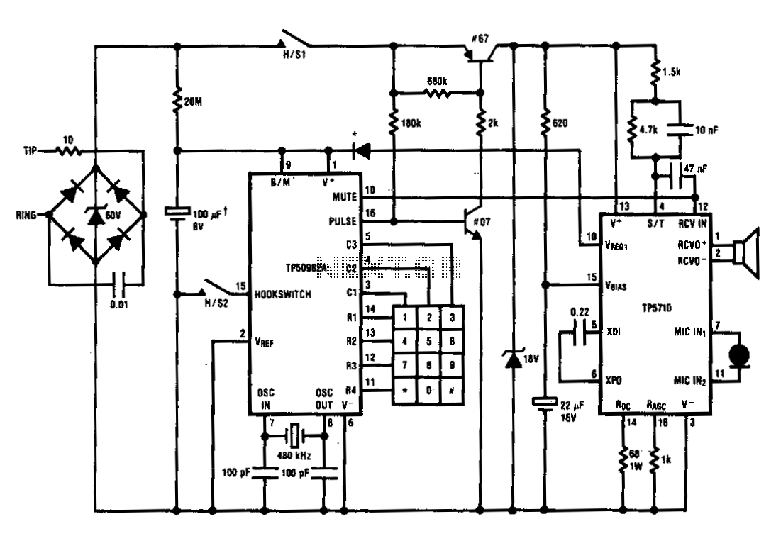Pulse-dialing-telephone - schematic