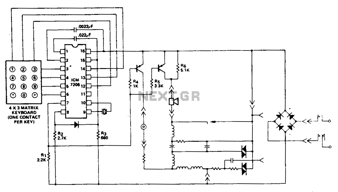 Telephone-handset-encoder - schematic