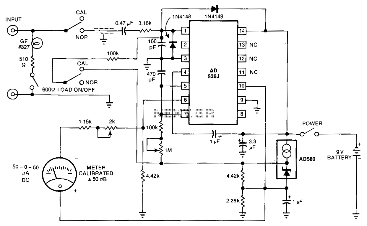 Telephone-sound-level-meter-monitor - schematic