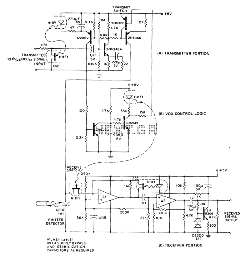 Low-cost-half-duplex-information-transmission-link - schematic