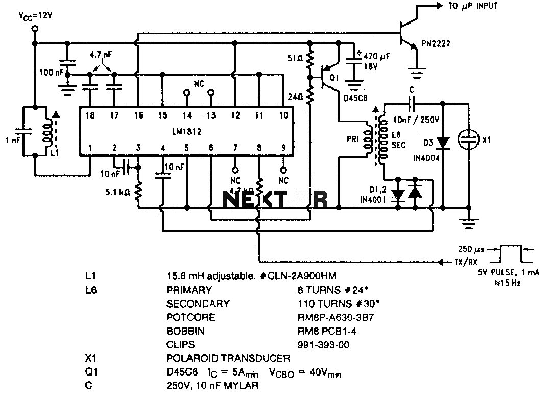Ultrasonic Circuit Audio Circuits Emitter Preamp Schematic Using 1 Npn Transistor Drawing Transceiver