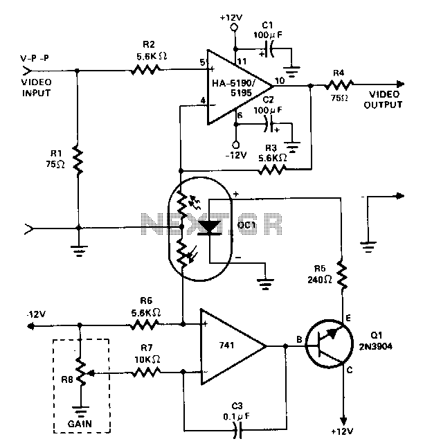 Dc-gain-controlled-video-amplifier - schematic
