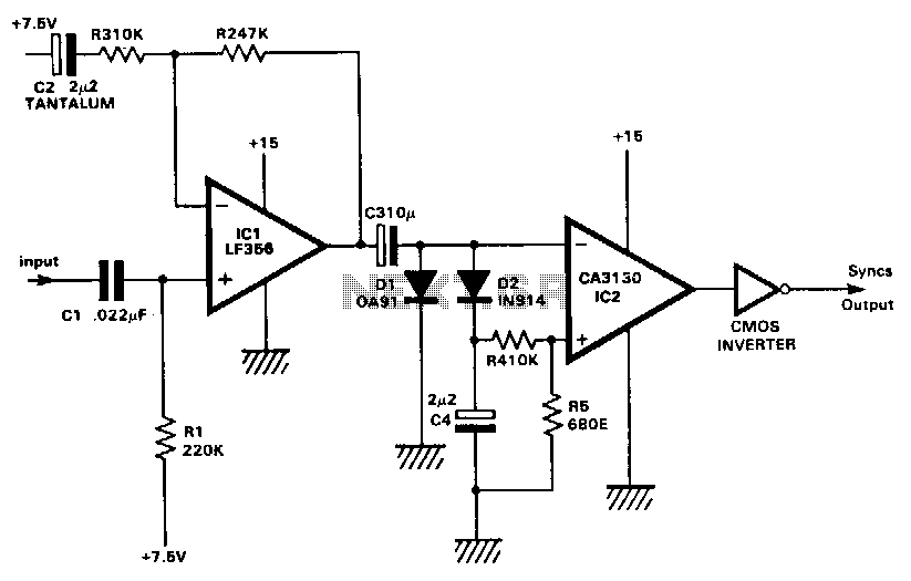 Single-supply-wide-range-sync-separator - schematic