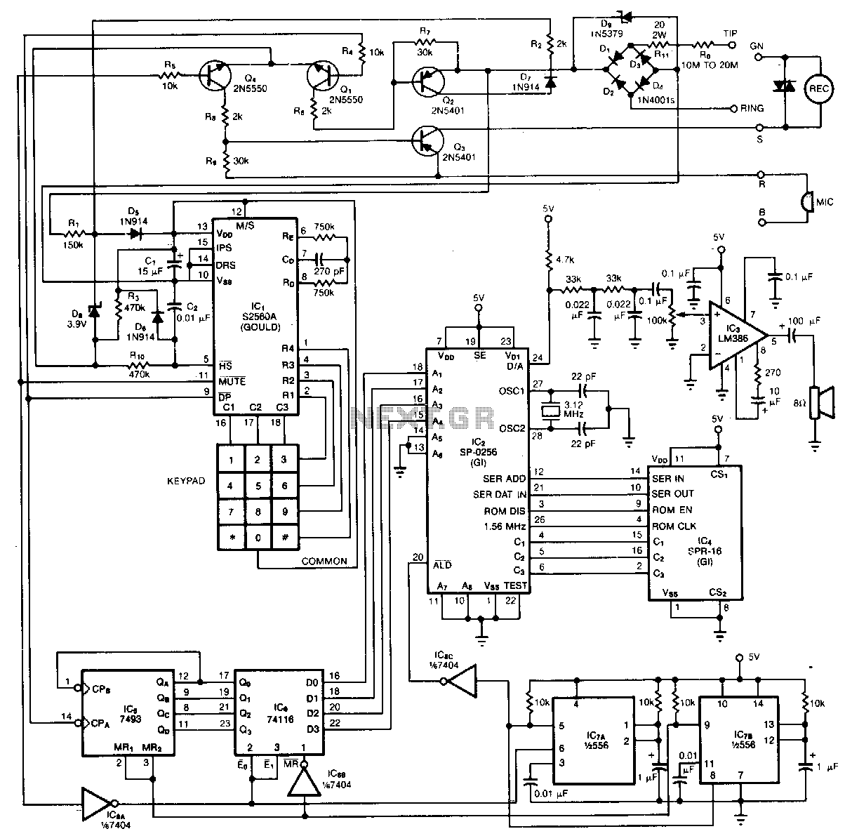 Dialed-phone-number-vocalizer - schematic