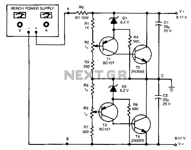 Unipolar-to-dual-supply-converter - schematic