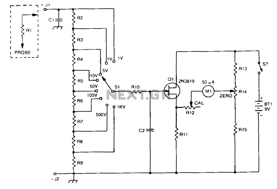 Fet-voltmeter - schematic