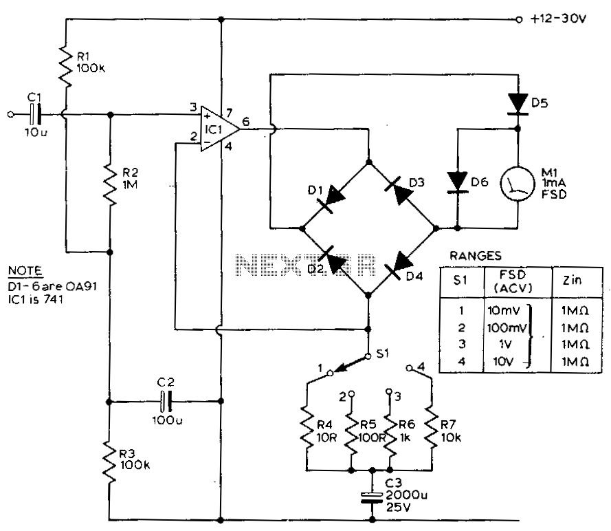 Xor Schematic With Led further Voltmeters together with Index7 likewise Car Dual  lifier Wiring Diagram in addition Elektronik Hobi Devreler. on vacuum tube voltmeter schematic
