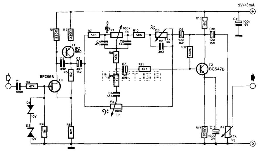 Electric Guitar Matching Amplifier - schematic