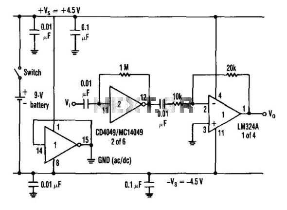 Cd4049 Amplifier - schematic