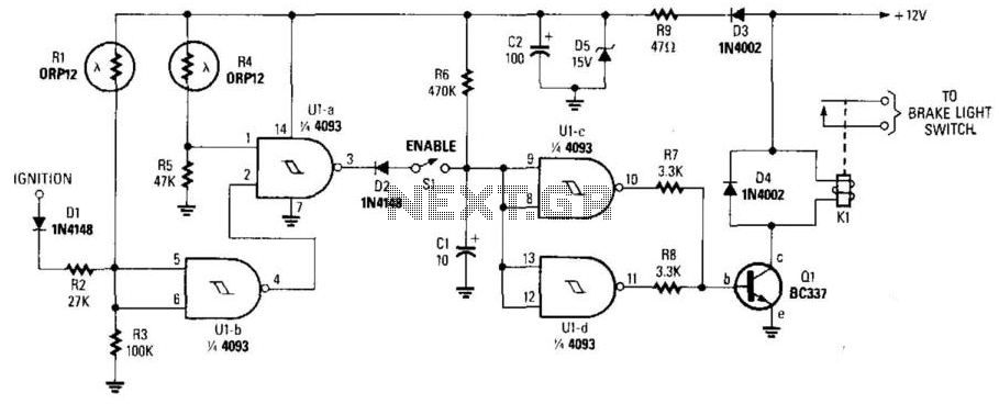 Night Safety Light For Autos - schematic