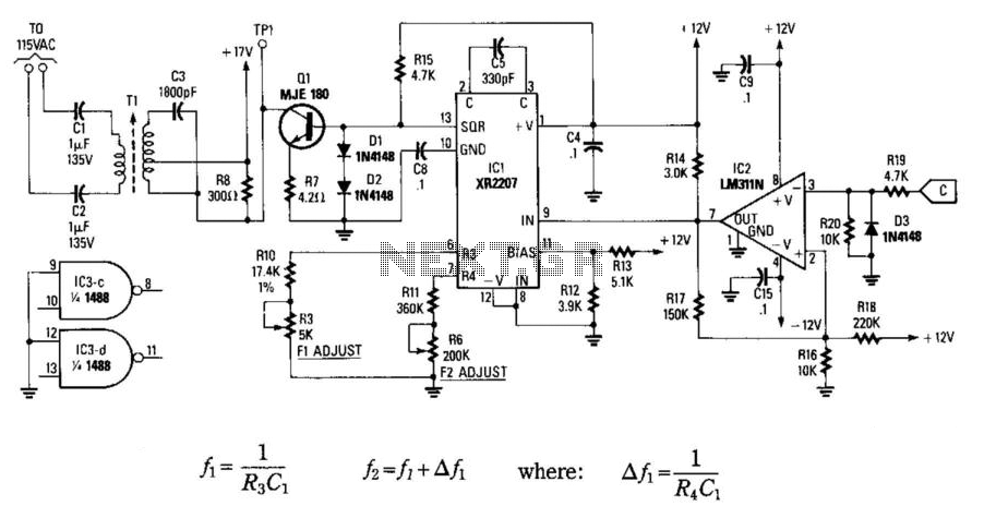 Carrier Current Transmitter For Data Transmission - schematic