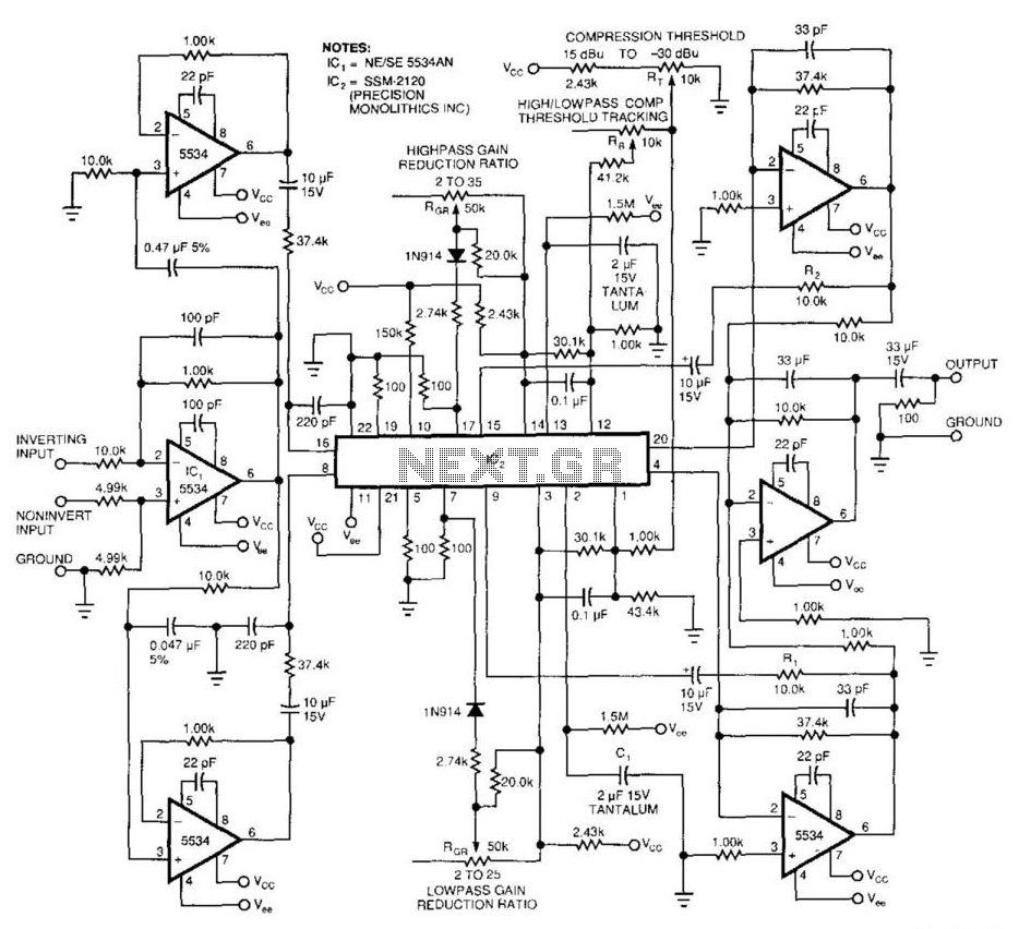 Audio Compressor/Audio-Band Splitter - schematic