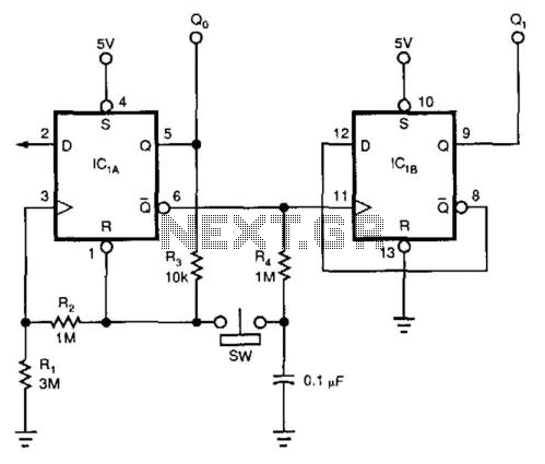 Flip-Flop Debouncer Switch - schematic