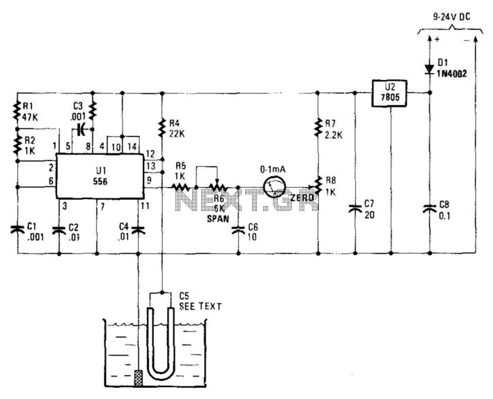 Water-Level Measurement Circuit - schematic