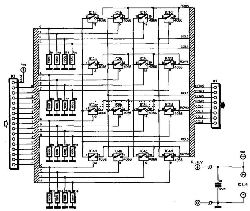 Keyboard Matrix Interface - schematic