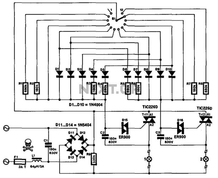 Four-Quadrant Dimmer - schematic