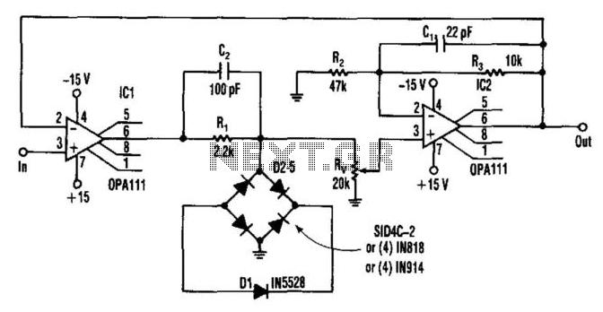 One-Zener Precise Limiter - schematic