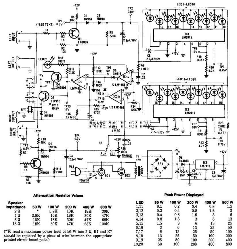 Stereo Audio Power Meter - schematic
