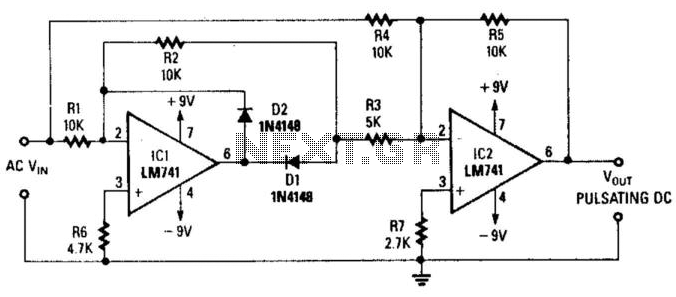 precision full-wave rectifier under audio mixer circuits