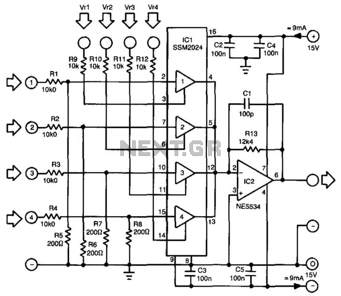 4-Channel Mixer - schematic