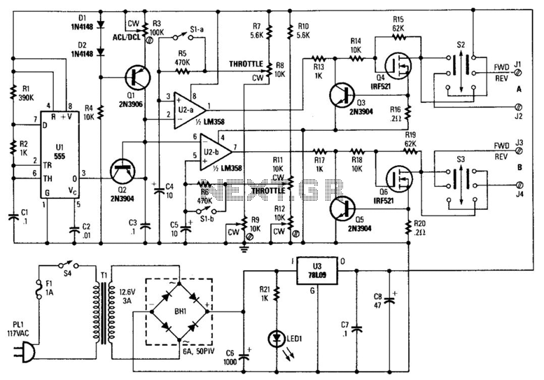 Model Train And Slot-Car Controller - schematic